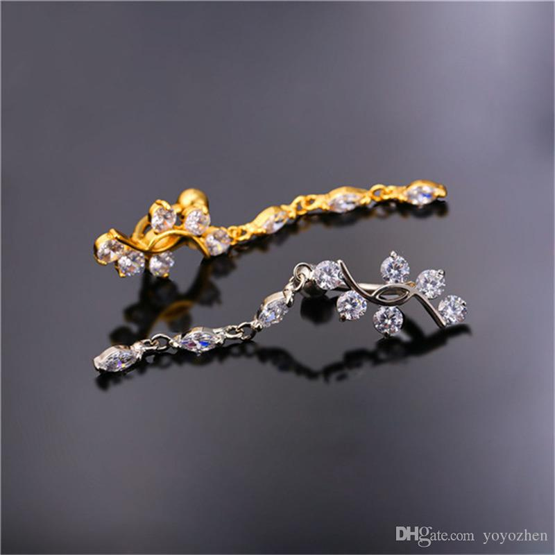 18K Real Gold Plated Body for Women Platinum Plated Belly Button Ring with Clear Cubic Zirconia