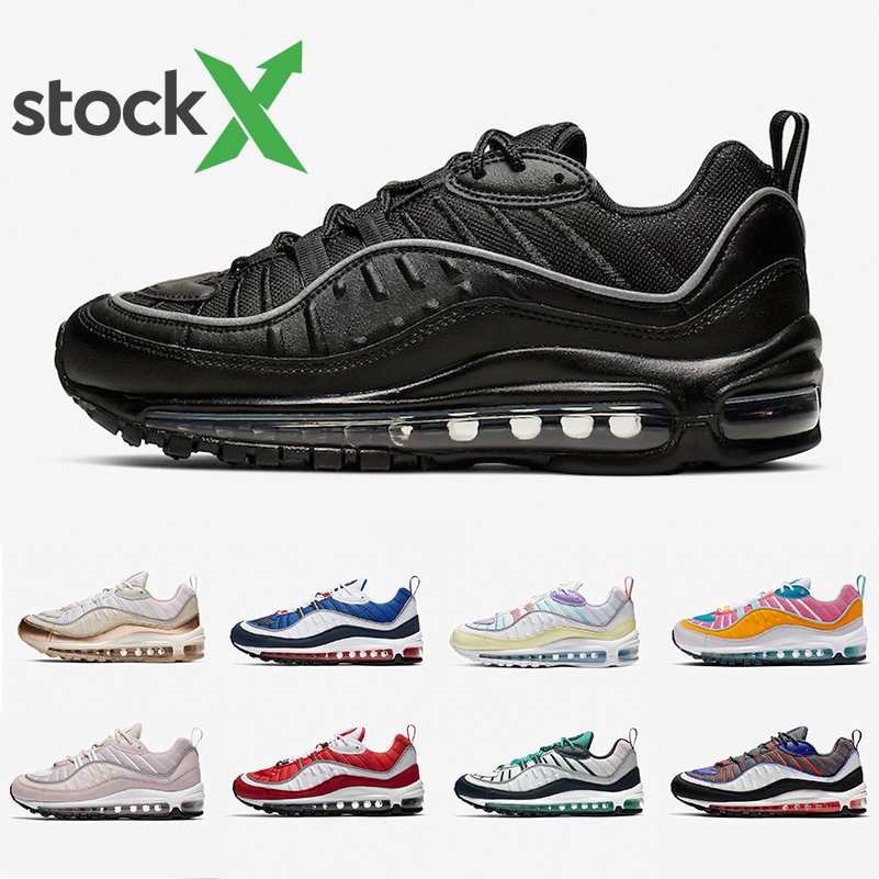 Nike air max 98 shoes airmax 98 Stock X Black Off Noir Reflective 98 Mens running shoes Gym Red Rose Gundam South Beach 98s Team Orange men women
