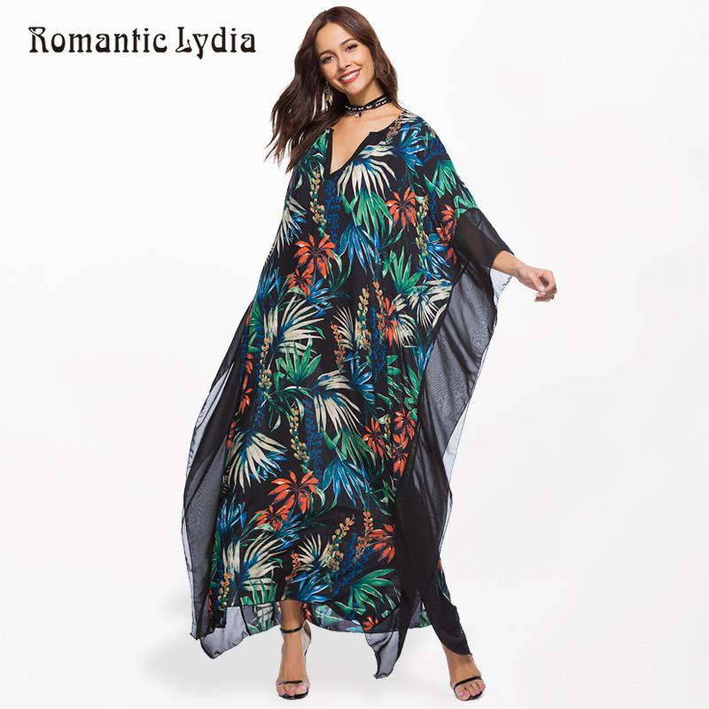 e2818395d8 Mujeres Kaftan largo vestido de boho más el tamaño de gasa de verano túnica  suelta Femme bohemio maxi vestidos de grandes tamaños recién llegado 2018