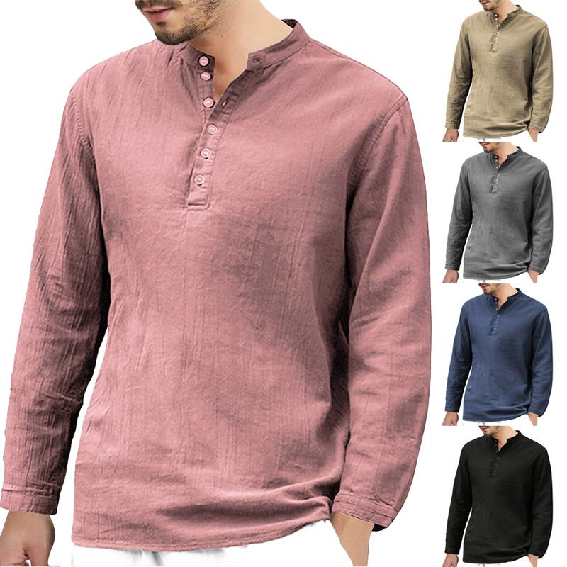 fcc90d7bd Compre Hombres Camisas De Lino Sólido Camisetas Básicas De Manga Larga  Hombres Primavera Nuevas Camisas Con Cuello Redondo Moda Para Hombre Tops  Tee ...
