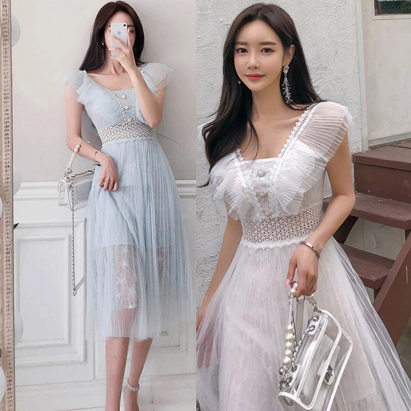 New Chiffon Stitching lace Dress Summer Korean Temperament Slim Slimming Waist A Word Skirt