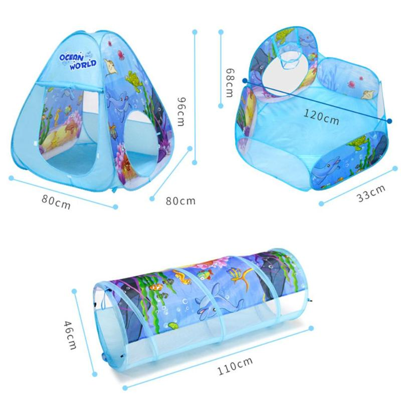 3pcs/Set Tent For Kids Folding Pool-Tube-Teepee Baby Play Tent House Tunnel Ball Pool Playhouse Kids Tent Gift