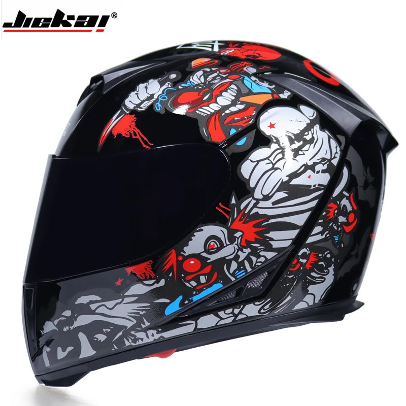 Casco de Moto de Doble Lente con Visera Integral Casco de Protecci/ón de Motocicleta XXL, Negro No Reflexivo