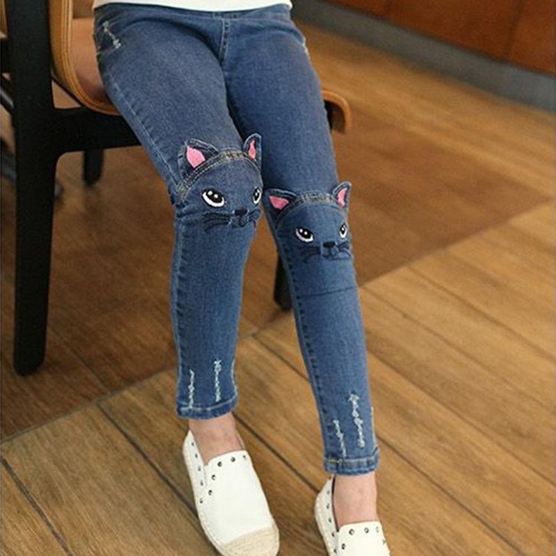 jeans for children girls 2019 spring autumn embroider Denim Pants cute cat Slim Fit Blue leggings for 2-8 years toddler kids