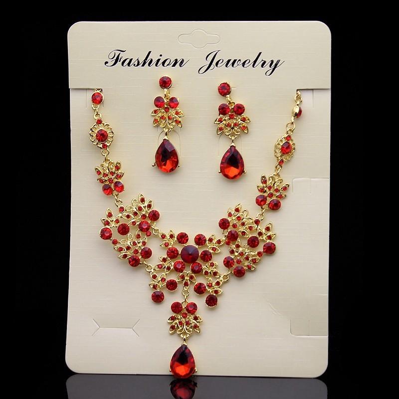 Vintage Baroque Wedding Hair jewelry Princess Queen Crystal Crown Large Red Rhinestone Tiara Golden Diadem For Women Accessories C18112001
