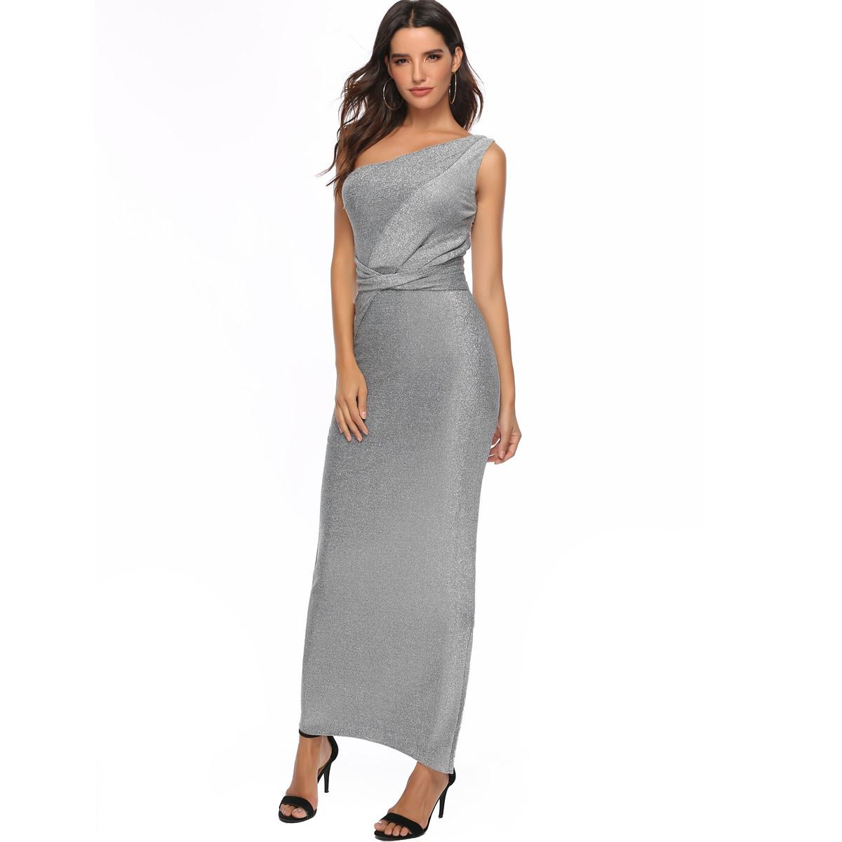 neue frauen-dame ein-schulter bright silk elegant dress rock große größe  abendkleid silbern solor bodenlangen