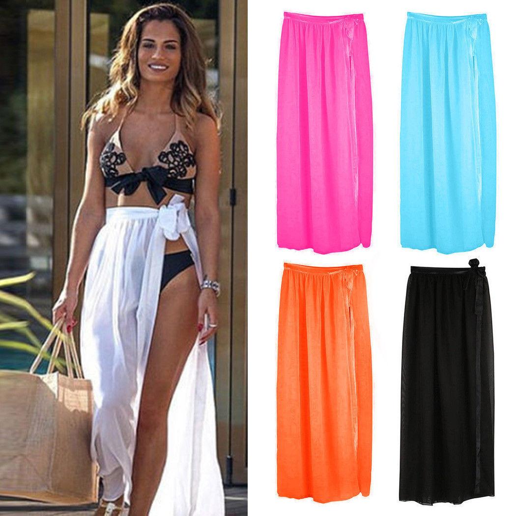 Le Donne Bikini Coprire Costume Da Bagno Sheer Beach Maxi wrap Gonna Sarong Pareo Abito UK