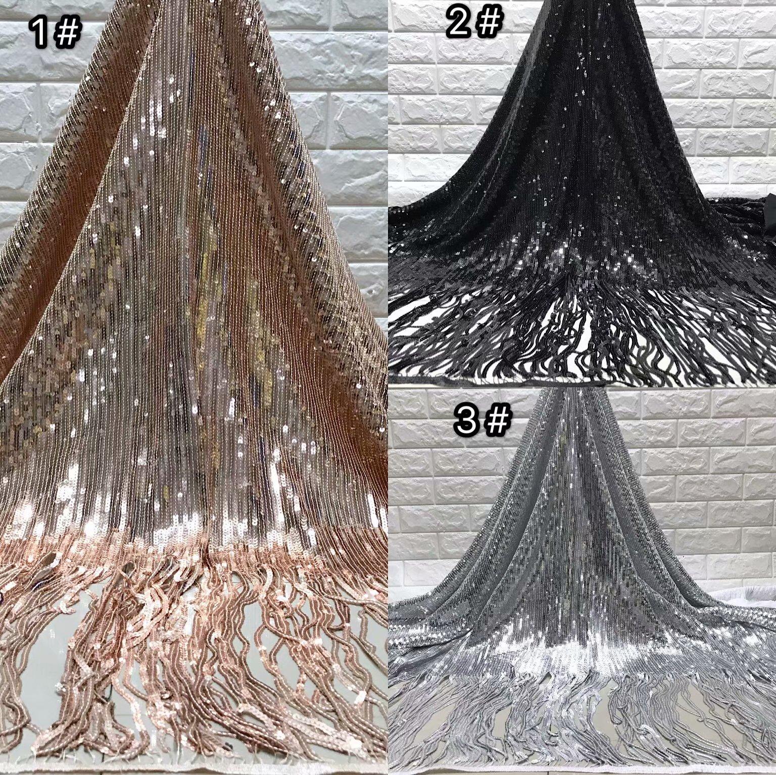 BEAUTIFICAL telas africanas de encaje Nuevo diseño de lentejuelas de encaje negro con borlas de lentejuelas para el vestido de encaje nigeriano 5 yardas ML5N594