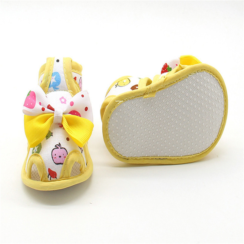 4 Color Summer Girls Shoes Newborn Infant Baby Girls Bow Print Soft Sole Toddler Anti-slip Shoes First Walker NDA84L23 (23)