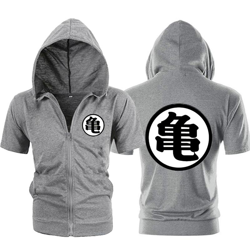 Casual Funny Print Dragon Ball Goku Hoodie Men Black Gray Cosplay Sweatshirt Fashion Short Sleeve Zipper Mens Hoodies Jackets SH190706