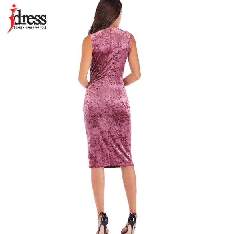 IDress New Sexy Velvet Club Dress Sleeveless V Neck Sexy Knee Length Autumn Dress Women Sheath Pencil Midi Bodycon Party Dresses (7)