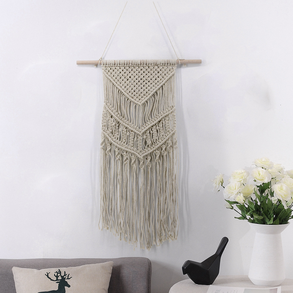 2019 new 70X50CM Macrame Wall Art Handmade Cotton Wall Hanging Tapestry Bohemian Tapestries Hanging Home Decoration Best Gift Wall Carpet