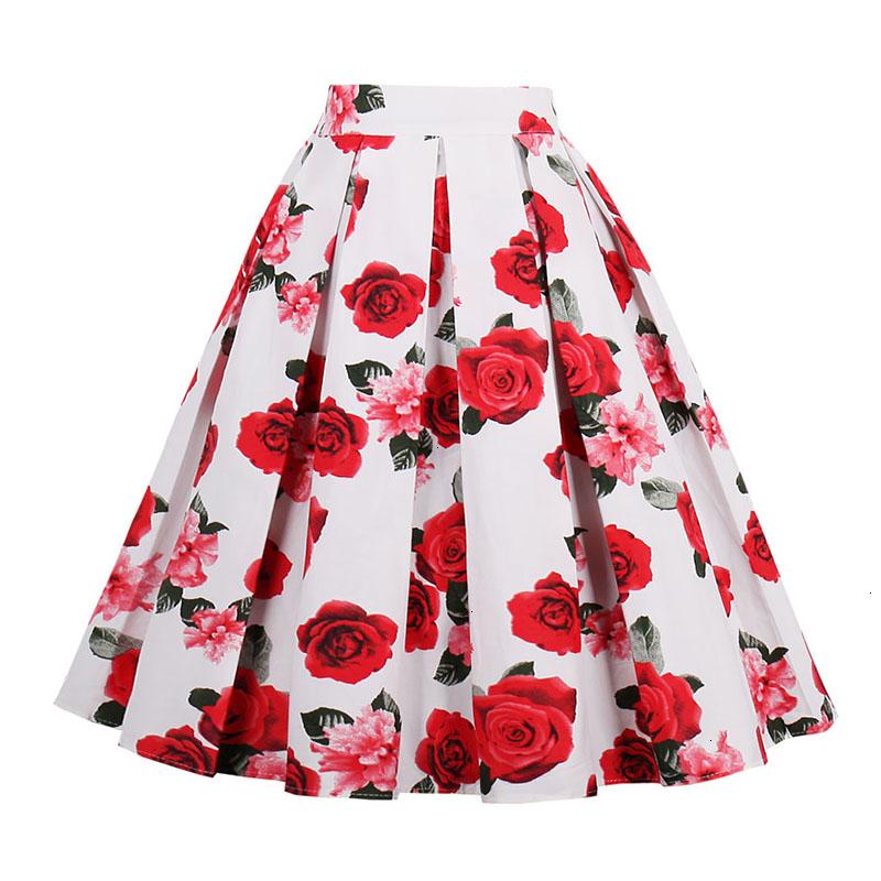 Kostlish Retro Print Flower Summer Skirts Womens High Waist Vintage Skirt Elegant A-Line Midi Women Skirt Plus Size XXL 22 (1)