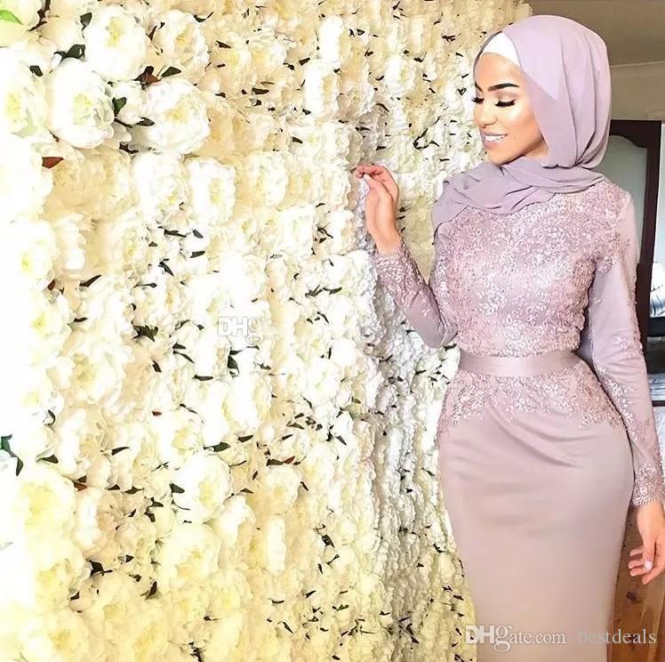 2018 Dusty Pink Muslim Evening Dresses Hijab Scoop Neck Appliques Ribbon Sash Satin Mermaid Prom Dresses Formal Gowns Sweep Train