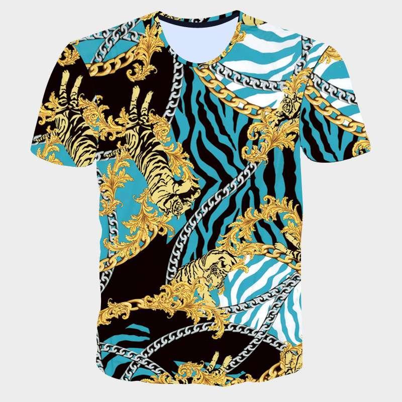 2017 New Summer Men T-shirt Fashion 3D Golden Flower T-Shirt Men Luxury Brand Clothing Gothic Sculpture Print Short Sleeve Tops (14)