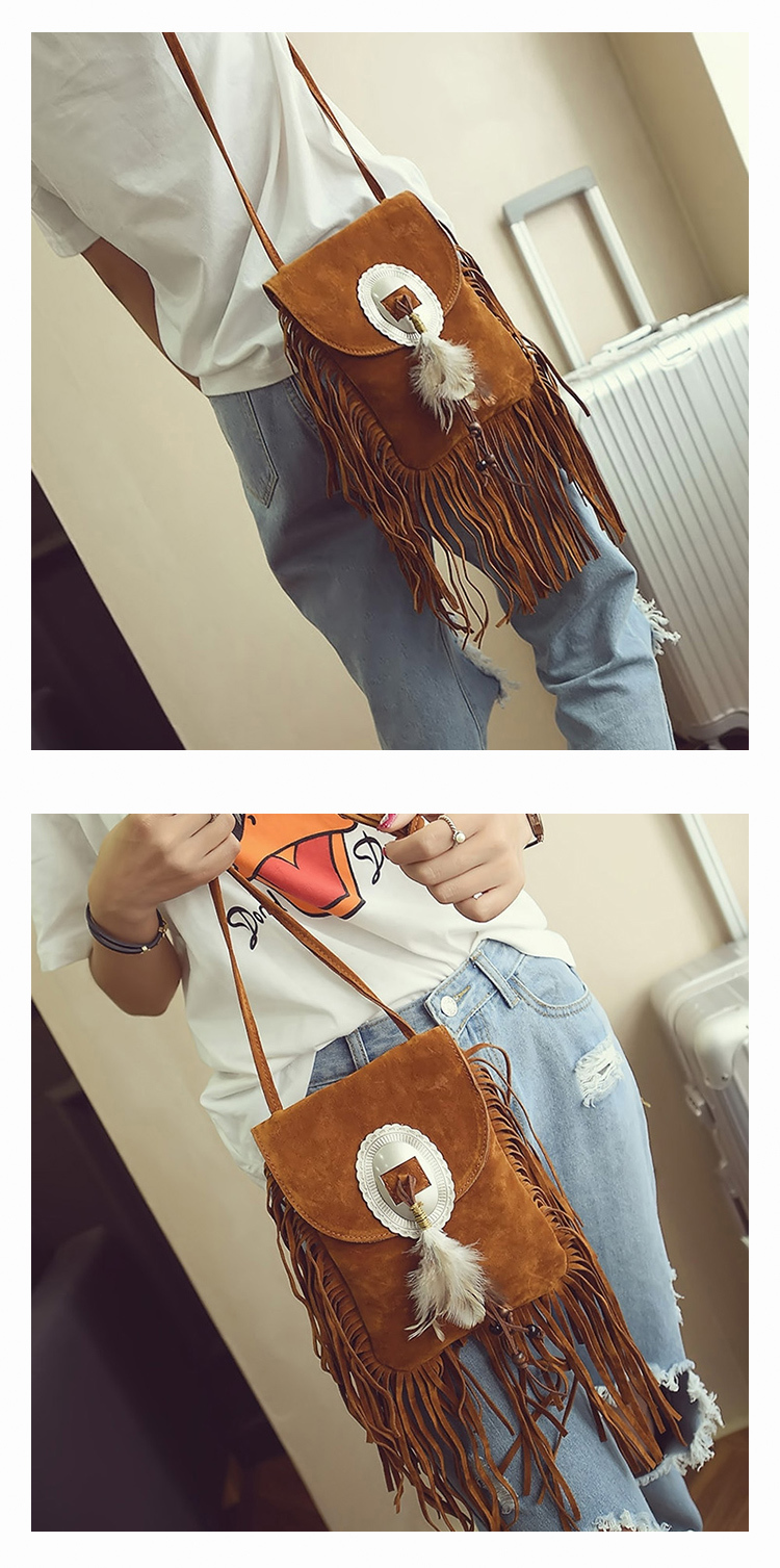 Female Small suede Bag Brown Beaded Feathers Hippie American Indian Tribal Bohemian Boho Chic Ibiza Style Pouch Bag (22)