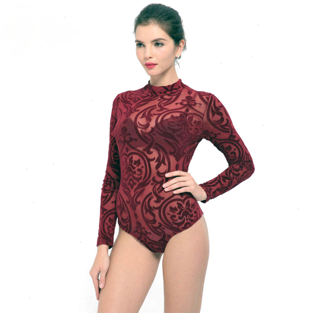 IDress New Arrival BlackBlue Red Macacao Feminino Mesh Shorts Femme Playsuit Overalls for Woman Long Sleeve Sexy Bodysuit (4)