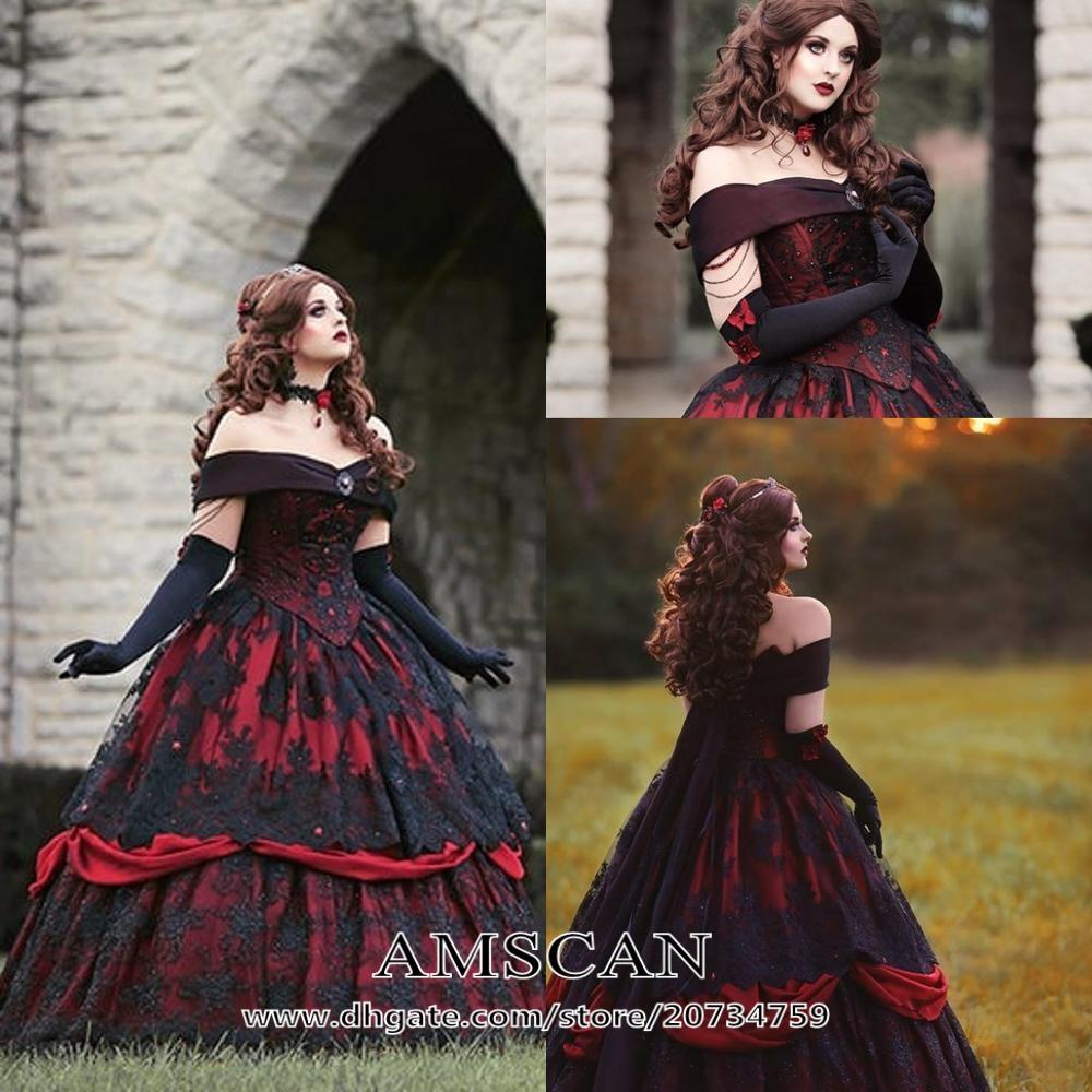 Großhandel Gothic Rote Schwarze Brautkleider gunstig online von