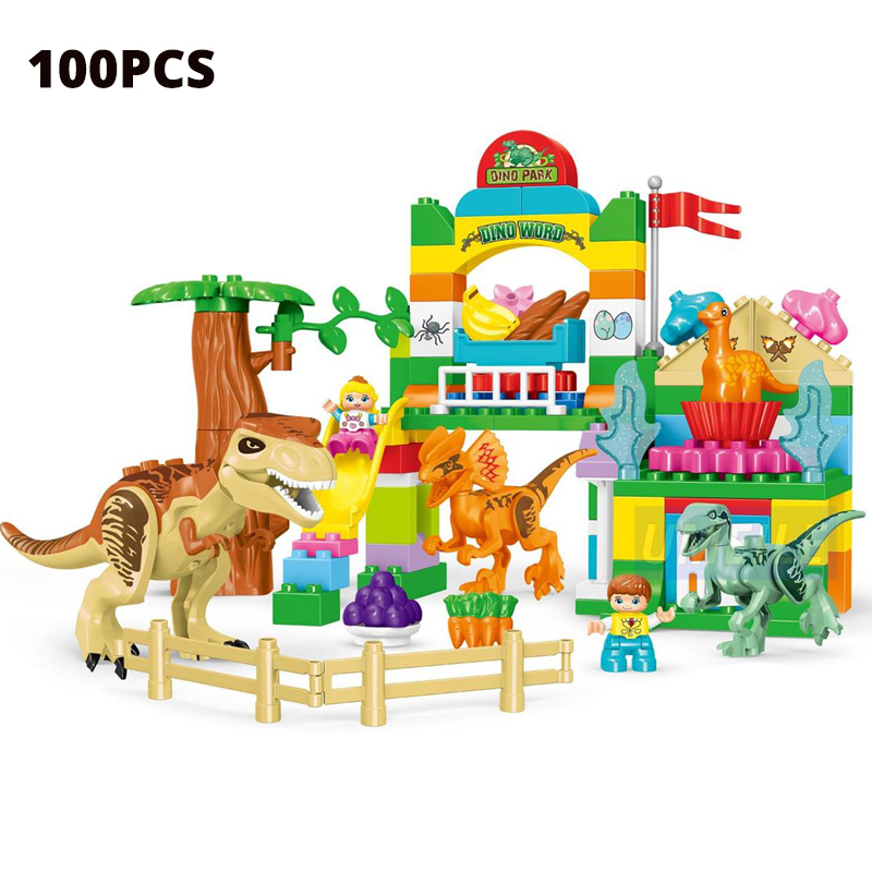 Umeile 15/39/65/Jurassic Dinosaur World Large Building Blocks Toys Animal Set Brick Compatible With Duplo Gift Q190530