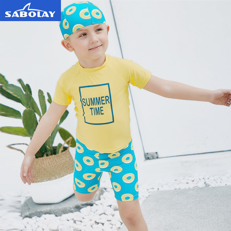 SABOLAY Swimming Suit Boys Short Sleeve Two-piece Suits for Kids Cartoon Trunks Baby Swimwear Children Diving Suit Beach Wear