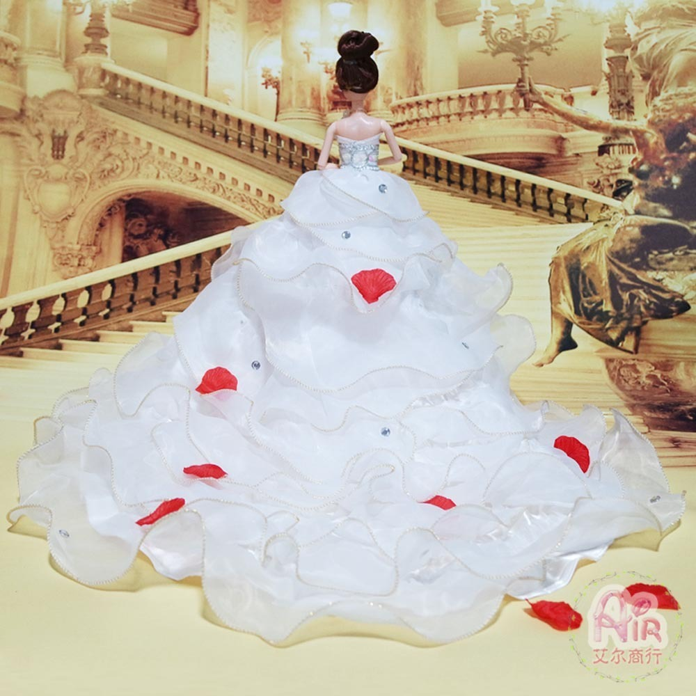 3d Really Eye Barbie Than Doll Wedding Dress Super Skirt Pendulum Drag White Princess Bride Toys Birthday Gift