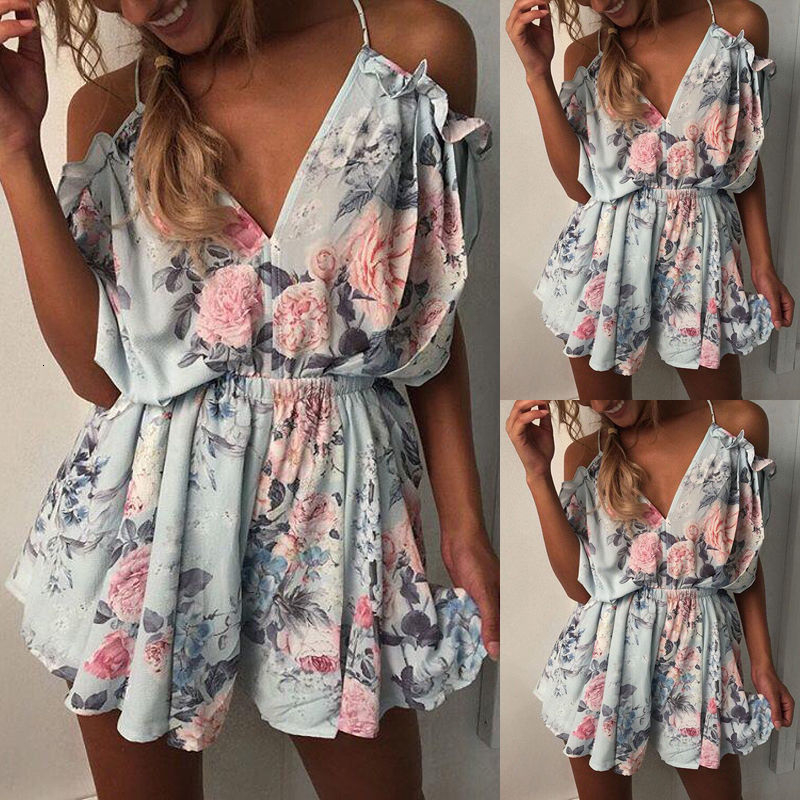 Jumpsuits Women New Girls Fashion Bohemian Spaghetti Strap Loose V Neck Playsuits Summer Off The Shoulder Floral Hot