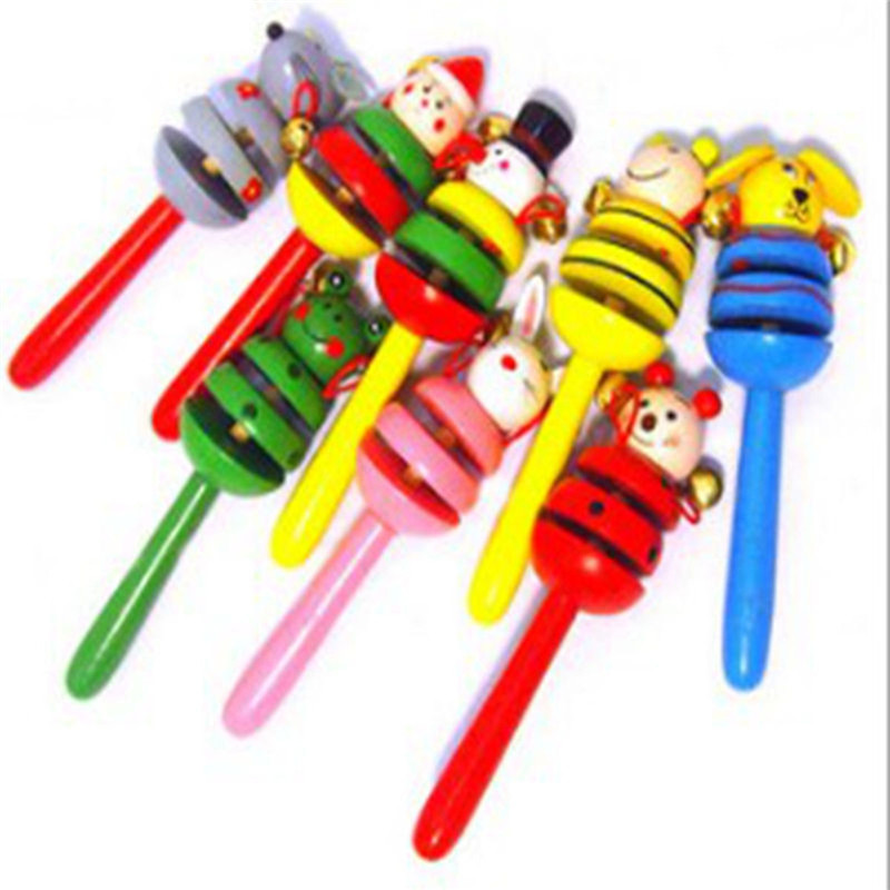 Baby Colorful Wooden Rattle Children's Educational Toys Cartoon Shaker Wooden Rattle Toys Colorful Random Color Children Shaker