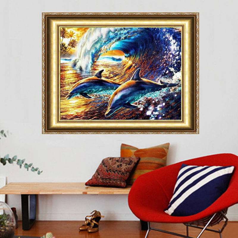 Dolphins Rough Sea Diy Diamond Painting 40*30cm Decorative Painting Handwork Resinstone Square Full Drill Picture Unfinish