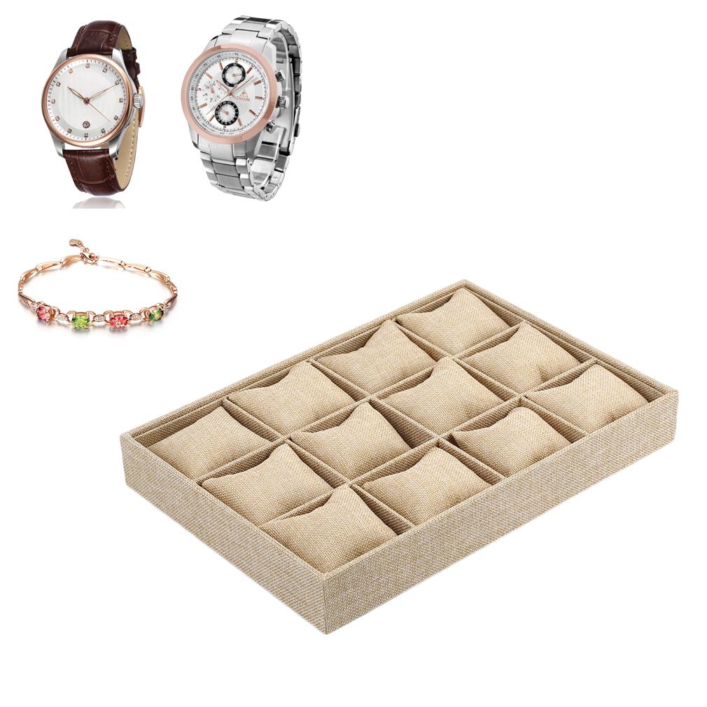 12 Rejillas Reloj Estuche de Exhibición Pulsera Collar Titular de la Joyería Caja de Contenedores Con Almohada Estilo Cáñamo Grueso Cajas Para Relojes