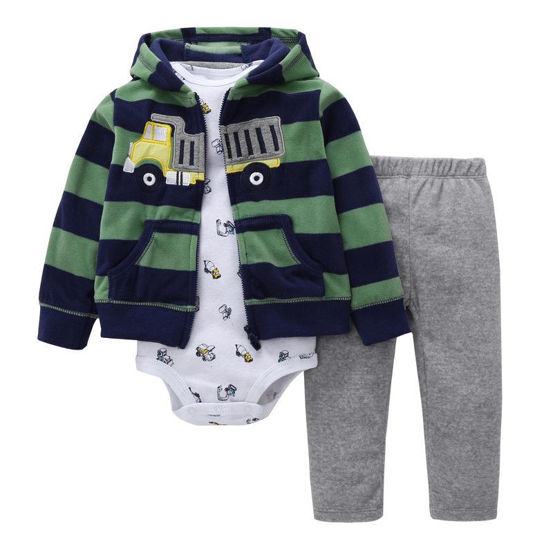BABY BOY CLOTHES,Long sleeve stripe hooded coat+rompers+pants,3pcs newborn clothing,infant baby girl outfit spring autumn