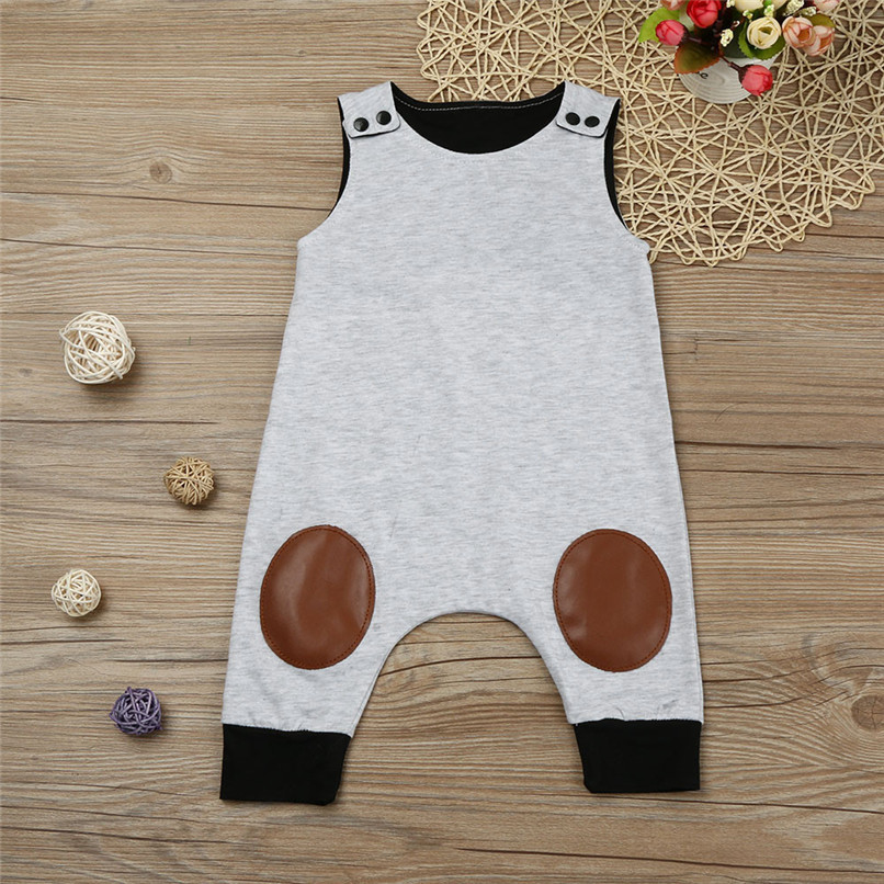 Summer Boys Romper Newborn Infant Baby Boy Solid Sleeveless O-Neck Jumpsuit Romper Clothes Suit For 6-24M boys M8Y07 (1)
