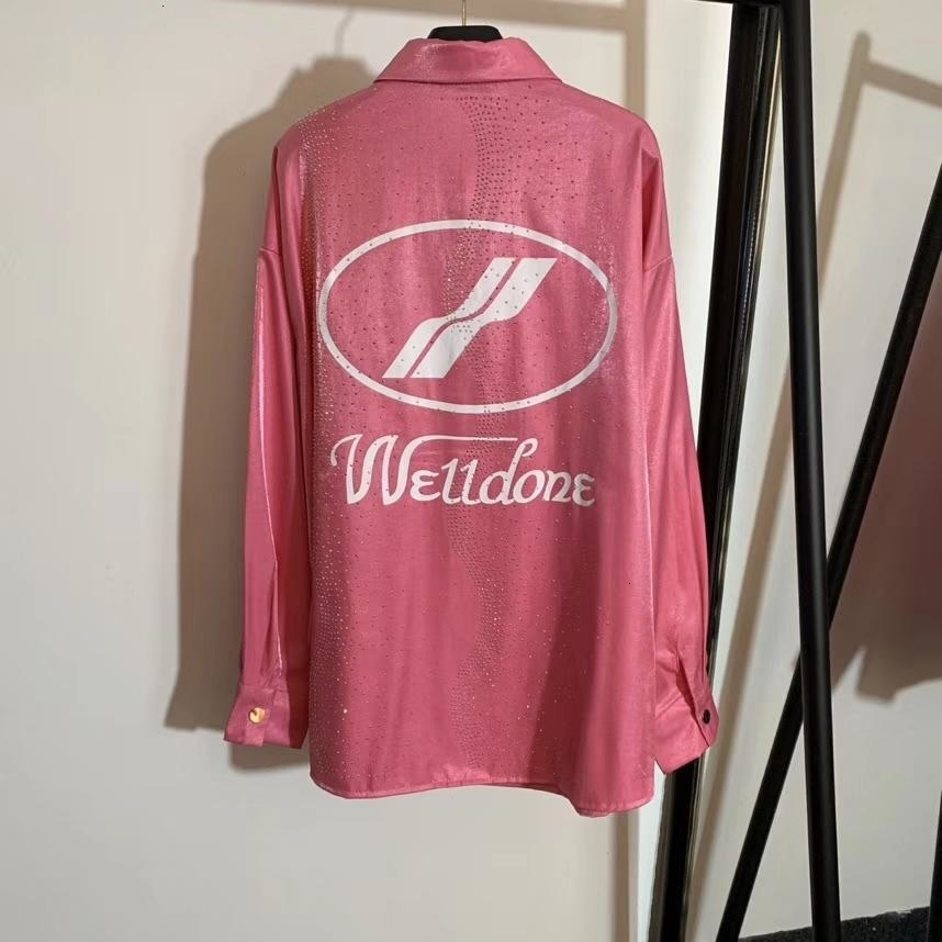 Marke 2019 Shirts neuer Kristalldiamant Brief gedruckt Revers Bluse Shirt Street Frauen Tops beiläufige Frau Frauen-T-Shirts Kleidung 2-46