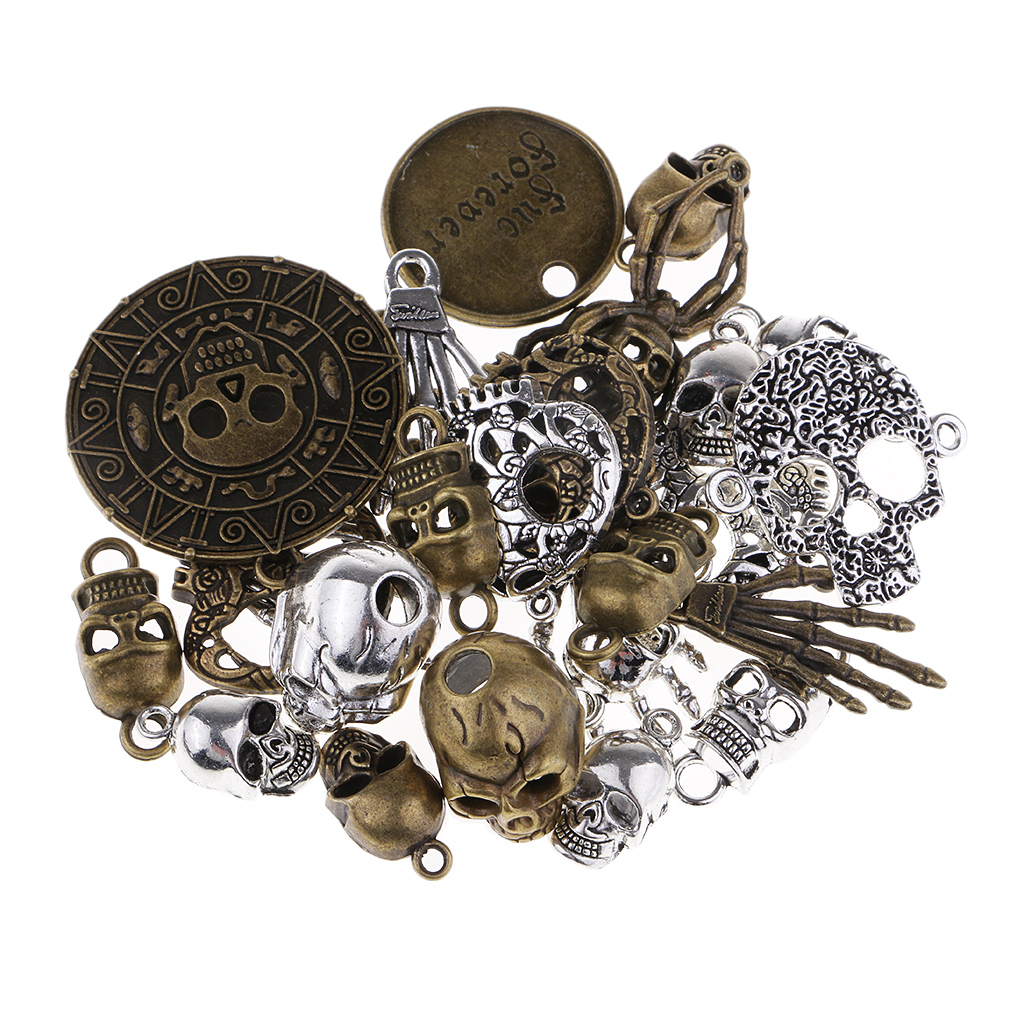 100 Grams Mixed Antiqued Skull Skeleton Pendant Charms for Handmade Steampunk Necklace Punk Jewelry Hanging Craft Accessories
