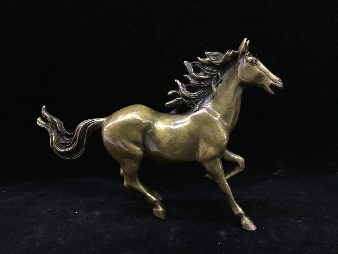 Chinese Old Brass Handwork Rare Collectible  Exquisite Antique Fine Horse Statue