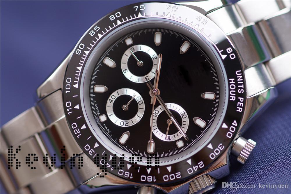AAA Negro Relojes Hombres 40mm de Acero Inoxidable de Lujo Bisel de Cerámica Relojes al por mayor Auto Fecha Hombres Vestido de Reloj Venta Caliente Relojes Masculinos Regalo Reloj
