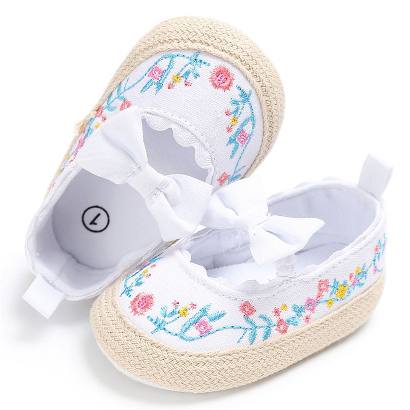Baby Girls Shoes Fashion Newborn Infant Baby Girls Canvas Floral Bowknot Lace Shoes Soft Sole Anti-slip First Walker M8Y04 (11)