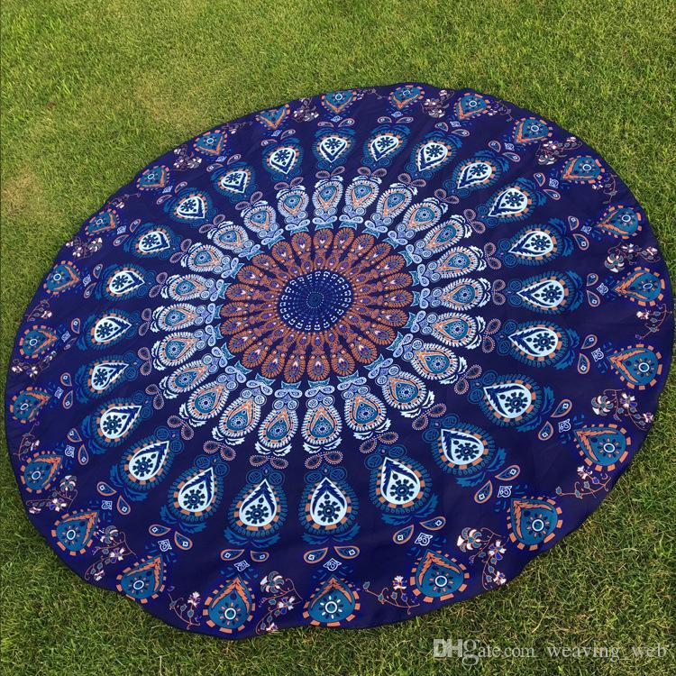 DHL OR SF-EXPRESS Peacock Round Beach Blanket Floral Vintage Outdoor Summer Picnic Yoga Sports Beach Towel