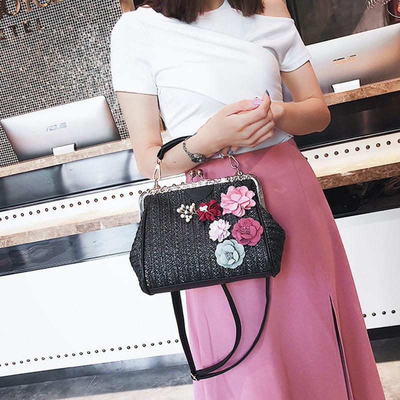 Women Pearl Handbag INS Popular Female Summer Flower Straw Bag Lady Fashion Shoulder Bag Travel Beach Woven Crossbody Bag SS7220 (16)