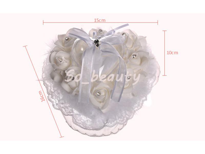 Bej Gül Alyans Yastık ile Kalp Kutu Çiçek Kalp Şekli Yastık Evlilik Yaratıcı Tedarikçiler Dekorasyon Yüksek Kalite BS5718