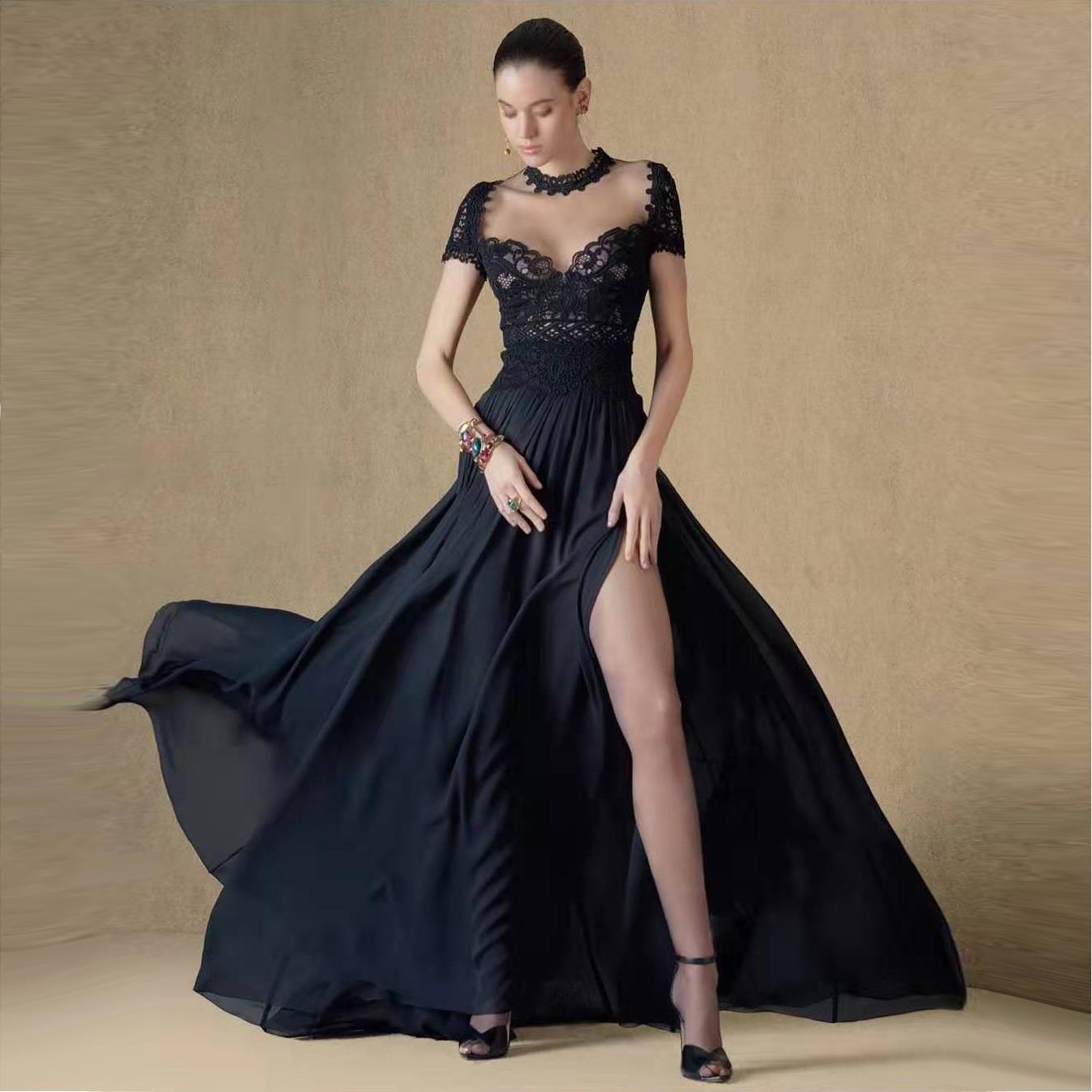 12 Schwarz Sexy Elie Saab Abendkleider Keyhole Ausschnitt Split Side  kurze Ärmel Abendkleid Plus Size Abendkleider