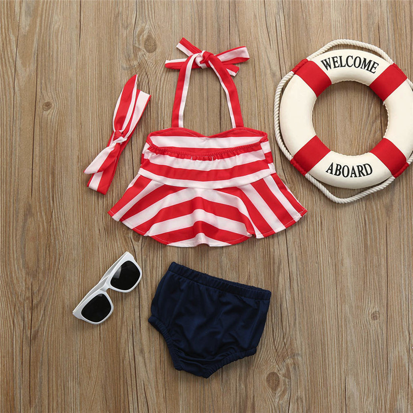 3Pcs Summer Girls Sets Infant Kids Baby Girls Striped Sleeveless Strap Tops+Solid Shorts+Headband Set Clothes Swimwear M8Y06 (6)