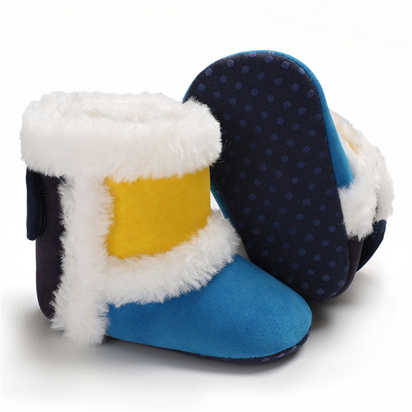 1 Pair Baby Girl Boots Baby Girl Splicing Soft Sole Snow Boots Soft Crib Warm Shoes Toddler winter Boots bota infantil D10 (8)