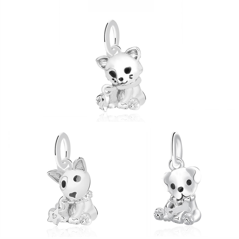 Véritable Argent 925 Cute Animal Naughty Dog perles charms Fit Original Bracelets