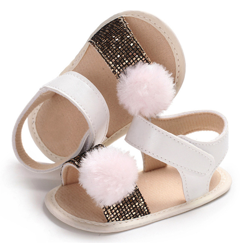 3 Color Summer Baby Girl Shoes Newborn Toddler Baby Girl Soft Ball Sequins Sandals Soft Sole Anti-slip Shoes Girl Sandals JE14#F (20)
