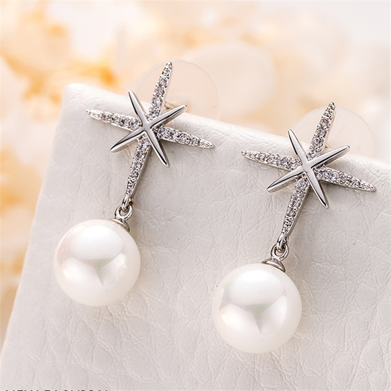 Long Rétro Argent Aiguille Strass Imitation Perle Oreille Stud Drop Dangle Earring