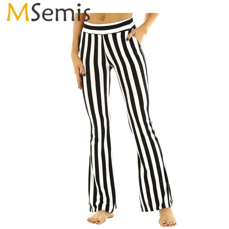 Nuevos Pantalones A Rayas Con Cintura Lazo Negro Blanco Para Damas Mujer Pantalones Rayada Control Ar Com Ar