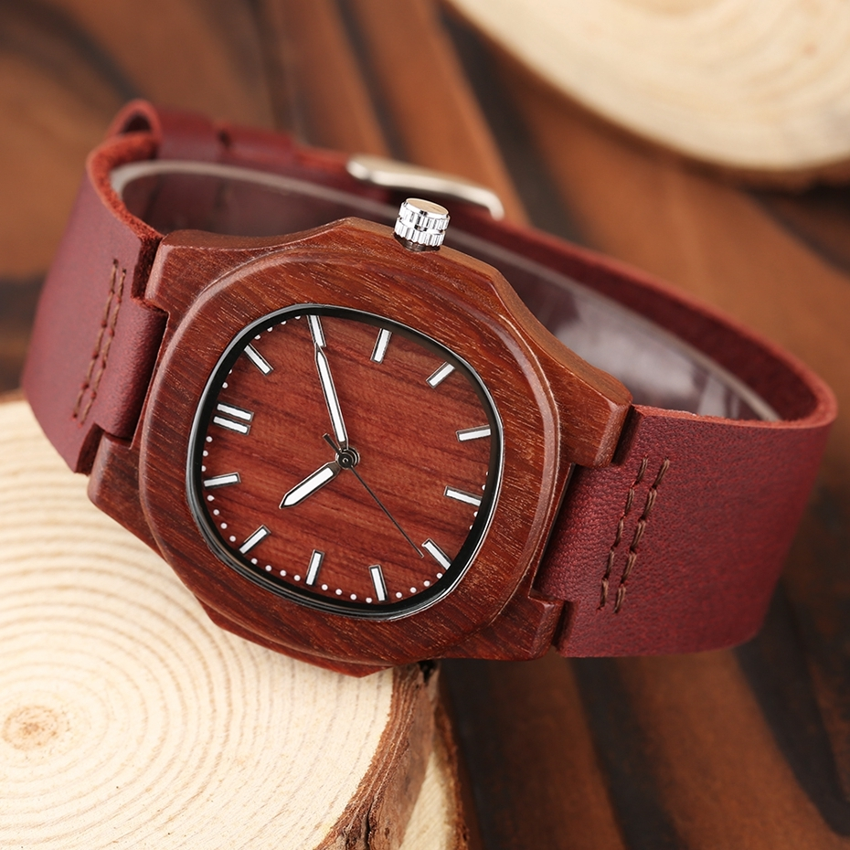 2017 New arrivals Wood Watch Natural Light Wooden Face Fashion Genuine Leather Bangle Unisex Gifts for Men Women Reloj de madera Christmas Gifts (44)