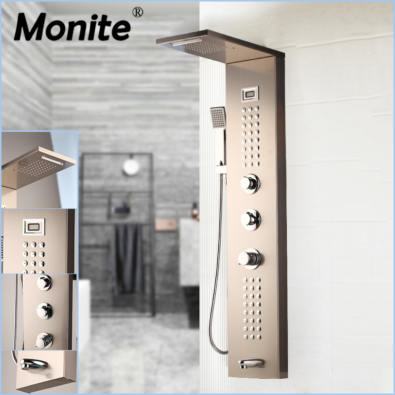 Monite Nickel Brush Shower Column Massage Jets Solid Brass Bathroom Rainfall Shower Head W/Hand Sprayer Faucet Shower Set Faucet