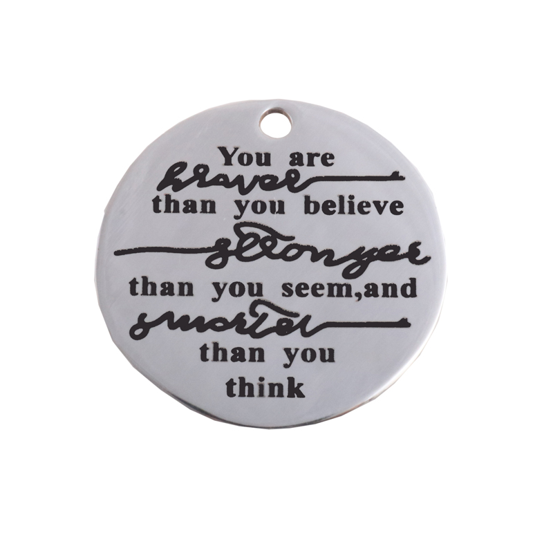 You're Braver than you believe Stainless Steel Charm-Inspirational encouragement Pendant For Diy Jewelry Making Wholesale