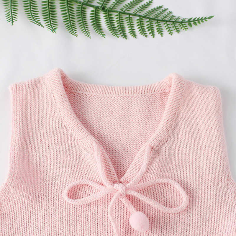 Sweater Romper 6-18M Autumn Baby Girls Sleeveless Jumpsuits Infant Rompers Ruffles Princess Girl Sweet Knit 100% Cotton Clothes
